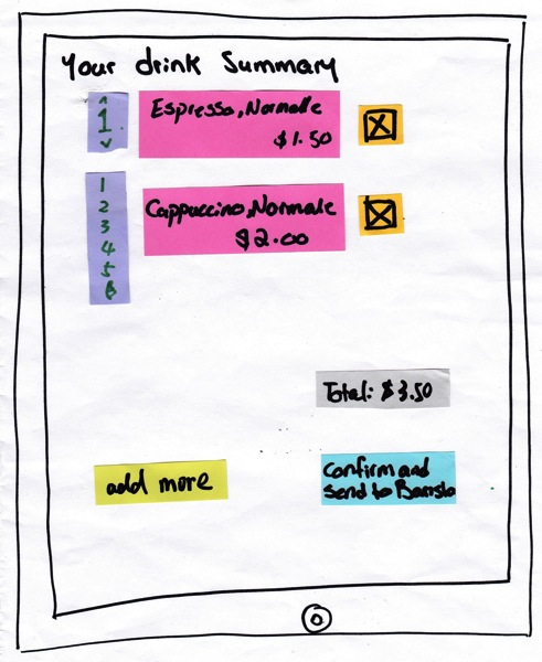 Drink Summary Screen with Scrolling Quantity Menu